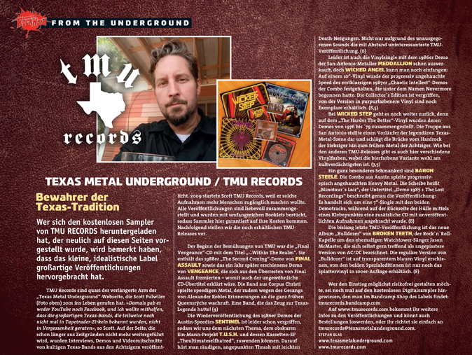 TMU RECORDS featured in the November 2016 issue of Rock Hard magazine.