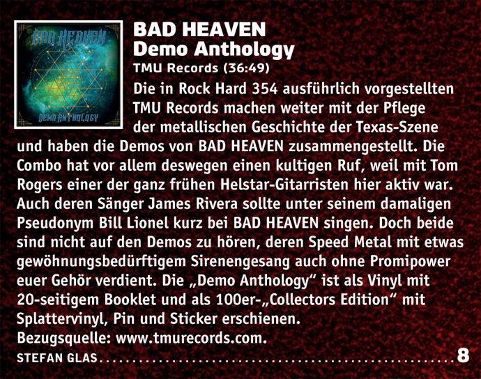 Bad Heaven review from RockHard magazine.