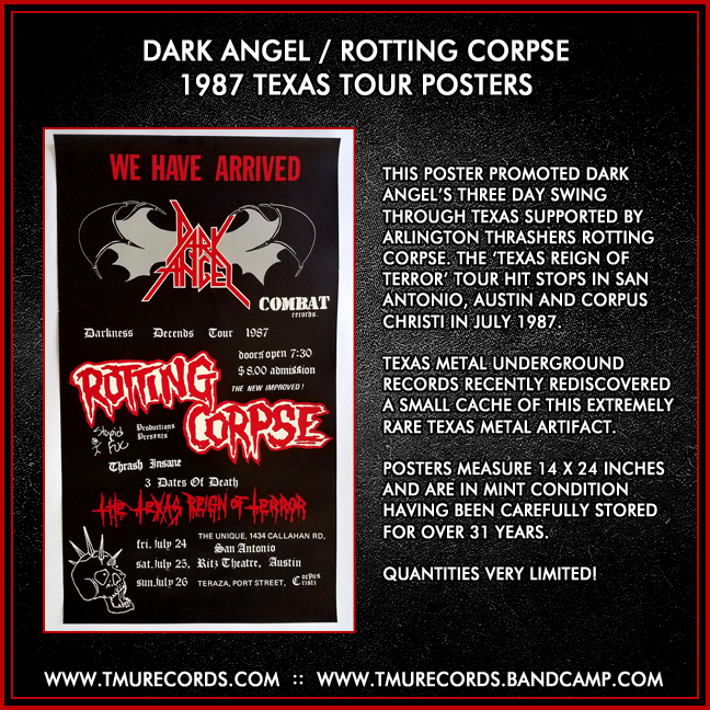 Dark Angel / Rotting Corpse 1987 Tour Poster